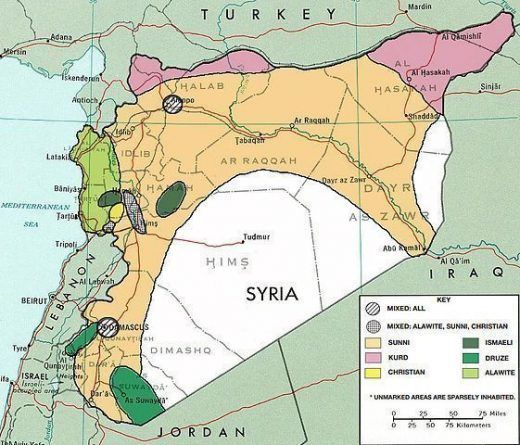 Etnias y religiones en siria