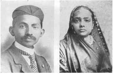 Gandhi y su esposa, Katurba