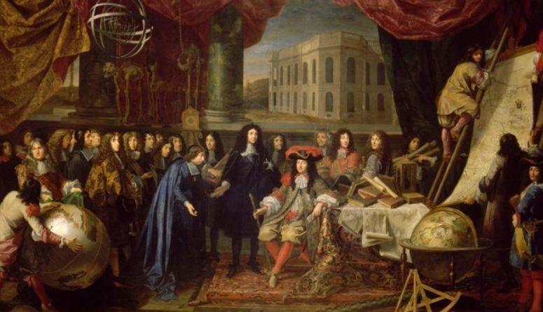 Colbert presenta a los miembros de la Real Academia de Ciencias a Luis XIV en 1667